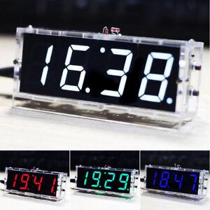 1 Bausatz LED 4 Digital Anzeige Uhr Clock Thermometer Light Kit DIY Mit Gehäuse