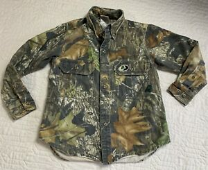 Mossy Oak Camouflage Camo Long Sleeve Shirt Button Up Hunting Youth Size Small