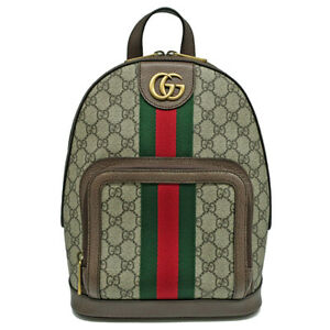 Pre-owned Gucci 547965 Ophidia GG Supreme Backpack Beige Canvas Leather F/S
