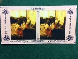 "Artist Original Vintage Style Risque/Pin-up 3D Stereoview Card ""Sasha Mirror #3"""