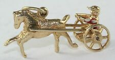 VINTAGE 14K GOLD HORSE RACING HARNESS SULKY CHARM