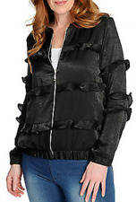 c3282d1226f NEW- Kate   Mallory® Woven Satin Ruffle Trim 1X Zip Front Bomber Jacket  BLACK