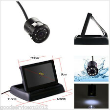 "18.5mm CCD IR Night Vision 8LED Car Reverse Camera With 4.3"" Foldable LCD Screen"