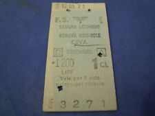BIGLIETTO TRENO CARTONATO 1971 SAVONA LETIMBRO - GENOVA - CEVA 1 CLASSE 4-230/2