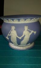 Vintage ceramic blue bowl with white greek goddesses