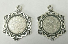 3051@ Antique silvery Alloy 10PCS Cameo Setting Pendant Accessory Inner 16*16mm