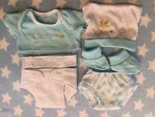 DOLLS BLUE CLOTHES LAYETTE FITS 12-14 INCH BABY BOY DOLL REBORN