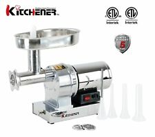 Kitchener #8 Commercial Grade Electric Stainless Steel Meat Grinder 1/2 HP (3...