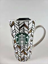 Starbucks Christmas GEO Metallic Gold NEW Latte Ceramic Travel Mug Lid 14oz