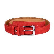 """Red suede belt Men's belts 100% genuine Italian leather 3.5 cm 1-3/8"""" Size 36"""