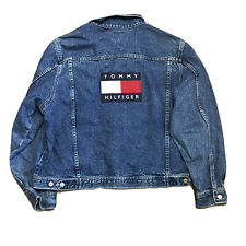 Mens Vintage 90's Tommy Hilfiger Denim Jean Jacket ~ Flag Logo ~ Stonewashed ~XL