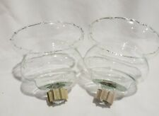 2 Vintage Homco Clear Scalloped Edge Wheat Patterned Votive Cups Home Interior