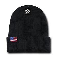 RapDom Original USA Flag Label Mens Cuff Beanie [Black]