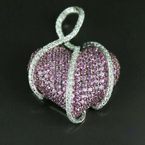 0.50Ct Pink Sapphire & Sim Diamond Large Heart Womens Pendant 14K White Gold Fn