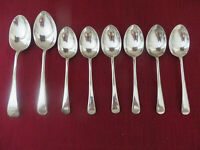 8 X VINTAGE SILVER PLATED (EPNS) Tablespoons & Dessert Spoons OLD ENGLISH