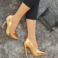 New Womens Ladies Pointed Toe High Heel Party Work Smart Court Shoes Pumps Size