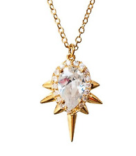 nOir Jewelry Drop Pendant Mini Punk Necklace GOLD Cubic Zirconia Spike NEW