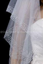 2T Handmade Beaded Edge Ivory Fingertip Bridal Wedding Veil H3113