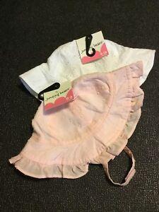Jumping Beans Girls Sunhat Bucket Hats White & Pink Size 0-6, 6-18 Months NWT