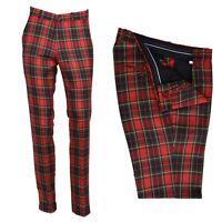 Men's Retro Vintage Sta Press Trousers 60s 70s Slim Fit Red Stewart Tartan Golf