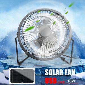 5V 10W Solar Panel Powered 6'' USB Fan Home Cooling Ventilation Cooling