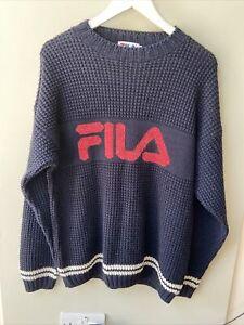Vintage FILA Navy Knit Jumper Pullover - M