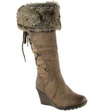 Womens Wedge Knee High Boots Low Mid Heel Winter Warm Fur Trim Zip Up Size