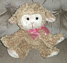 Best Made Toys Lamb Sheep Brown Soft Fuzzy 9in Plush Pink Nylon Polka Dot Bow