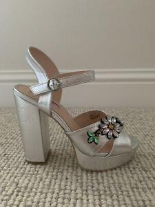Primark Silver Open Toe Platform Shoe With Jewel Detail UK 6