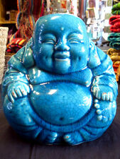 BLUE CERAMIC LAUGHING Happy BUDDHA STATUE ORNAMENT Turquoise CRACKLE GLAZE POT