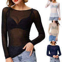 Women Semi Sheer Mesh Long Sleeve Shirt Top Pullover Stretch Tee Travel Cover Up