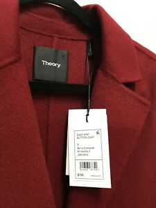 Theory NWT Size S, Women Coat Easy One Button Coat, Berry Compote Winsome 2