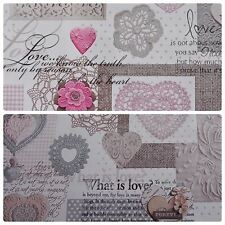 """White Shabby Chic """"Love"""" Heart Lace Floral PVC Fabric - 2 Colours (Per Metre)"""