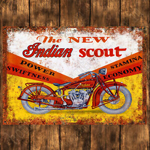 ALUMINIUM SIGN - 200MM X 285MM - INDIAN SCOUT MOTORCYCLE