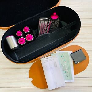 Dyson Airwrap Pink Attachments with Brown Leather Case - No Wand/Dryer Included