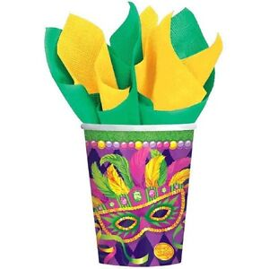 Mardi Gras Party Masquerade Mask 8 Ct 9 oz Paper Cups Hot Cold Beverages