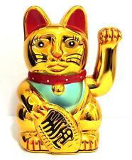 """LARGE GOLD LUCKY BECKONING CAT Wealth Waving Maneki Neko Feng Shui Japanese """""""