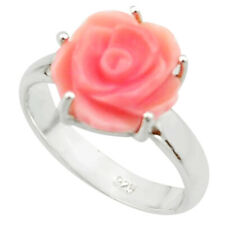 5.06cts Pink Coral 925 Sterling Silver Flower Solitaire Ring Size 8 R22728