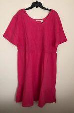 Phases Womens Dress Fuchsia 100% Cotton Size 4X New