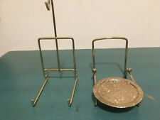 (2) Different Tea Cup and Saucer Stands Holder Display Brass Gold Colored