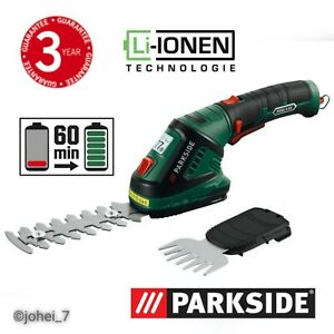 Parkside 4V Cordless 2in1 Grass Cutter Hedge Trimmer, Tidying/Shaping PGSA 4 A2