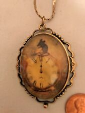 "Antique gold costume necklace Mouse ran up the clock 24"" long chain"