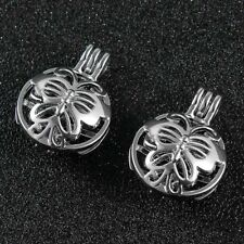 5X Silver Butterfly Pearl Oyster Bead Silver Locket Cage Pendant Charms Necklace