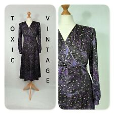 VINTAGE 70s 80s PURPLE BLACK GOLD ZEBRA POLKA DRESS. UK PLUS SIZE L. RETRO GLAM