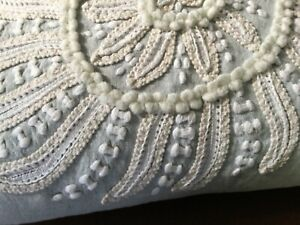 Pottery Barn Pillow Complete/Insert, Crewel Floral, Embroidered, Gray/Cream,EUC