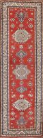 Geometric Super Kazak Vegetable Dye RED Handmade Oriental Runner Rug Wool 3x9