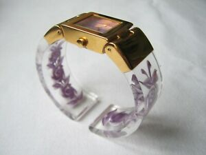 Vintage Joan Rivers Lucite Reverse Carved Bangle Watch
