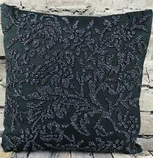 Ralph Lauren Beaded Socialite Pillow Midnight Navy Blue Feather Down 12 X12