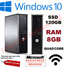 FAST DELL QUAD CORE PC COMPUTER DESKTOP TOWER WINDOWS 10 WI-FI 8GB RAM 120GB SSD