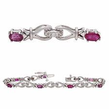14k White Gold 2.56ctw Ruby & Diamond Hugs & Kisses XOXO Link Bracelet